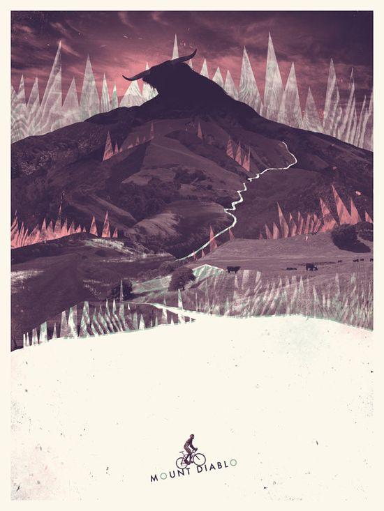 Mount Diablo Screenprinted Poster. Etsy.