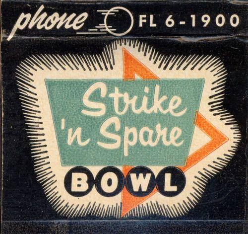Vintage matchbook from Strike 'N Spare Bowl.
