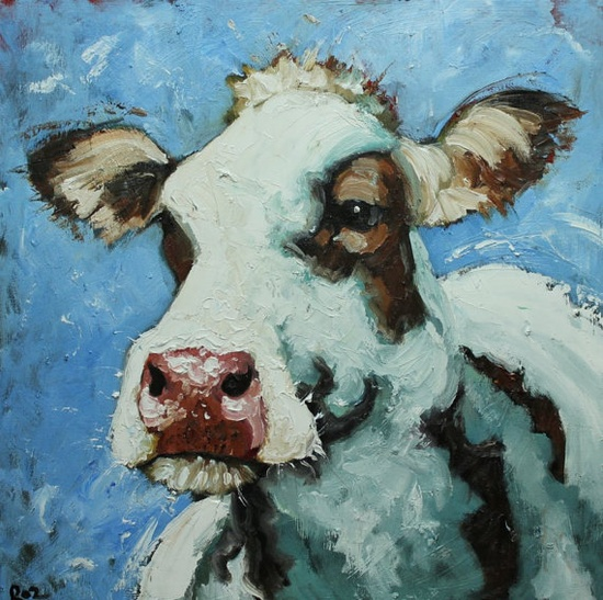 Cow painting 443 20x20 inch original oil painting by Roz by RozArt, $185.00