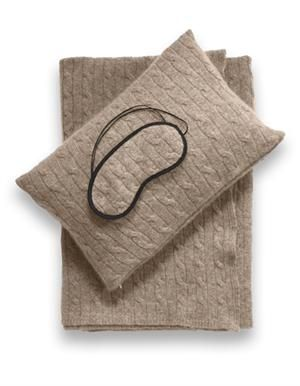 "Perfect for any trip, long or short -  Sofia Cashmere Emilia Taupe Cashmere Travel Set.  The ""blanket"" doubles as a pashmina."