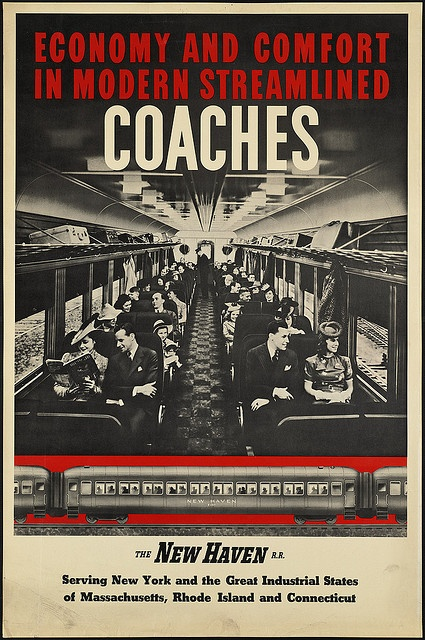 Economy and comfort in modern streamlined coaches by Boston Public Library, via Flickr