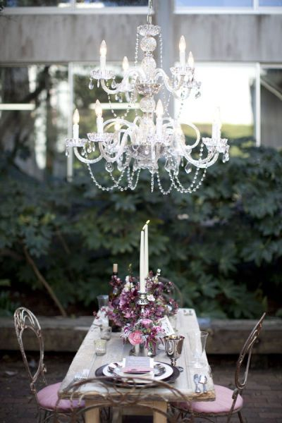 Outdoor chandeliers are always a good idea.