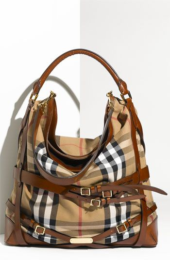 Belted Check Print Hobo
