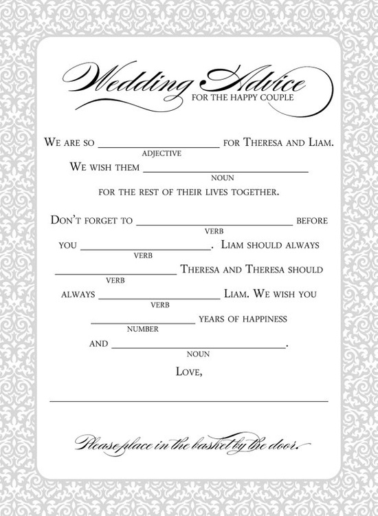 Mad libs wedding game from replybydesignstud...