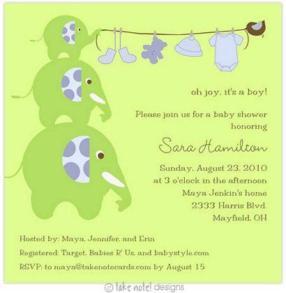 Baby boy shower invitation elephant