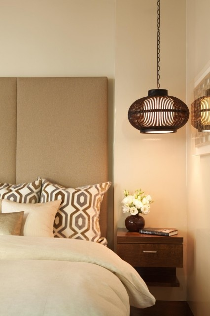 bedroom, love the bedside table and lighting