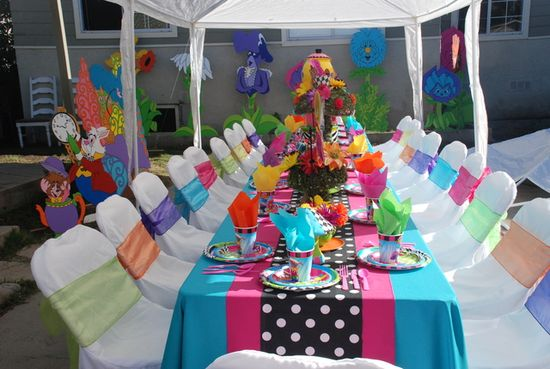 Colorful table at an Alice in Wonderland party!  See more party ideas at CatchMyParty.com!  #aliceinwonderland #partyideas