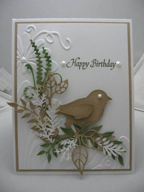 Stunning Embossed Birthday Card...with bird & lacy fern trim...Die Cuts.