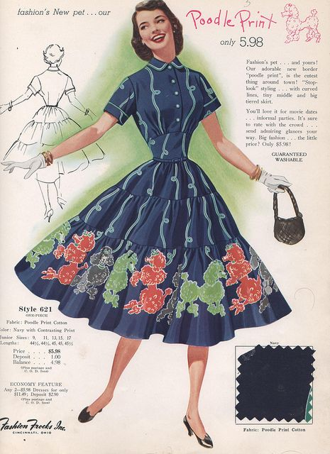 Hands (paws) down one of the most adorable poodle print 1950s dresses I've ever seen. #magazine #1950s #fifties #vintage #clothing #fashion #card #dress #poodle #cute