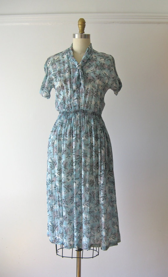 1940s sheer tie neck day dress / Setting Sail
