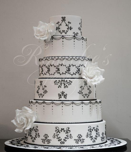 Black and White 6 tier wedding cake