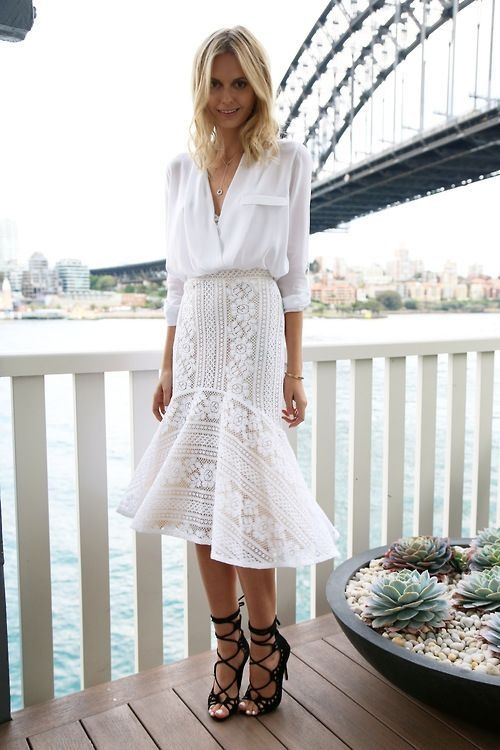 Street style all white outfit with shirt & lace skirt