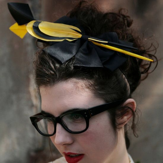 Bows and Arrows  BOW AND FEATHER Headpiece by ginnyandjudes, $125.00