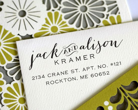 Calligraphy Handwriting Script Custom Return Address Stamp - Personalized Wedding Stationery Stamp - a3001. $21.95, via Etsy. I love this!!!!!