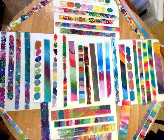 "These painted strips of paper will make a lovely display - from Elisabet Skoglunds Pedagogik-sida ("",)"