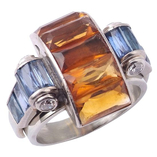 Boivin c. 1935 - citrine, sapphire and diamond ring