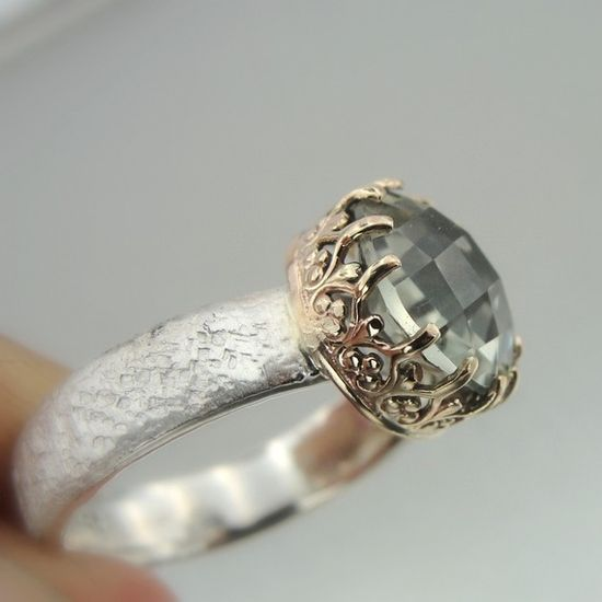 Gold Silver Green Amethyst Ring Hadas1951 Hand by Hadas1951, $119.00
