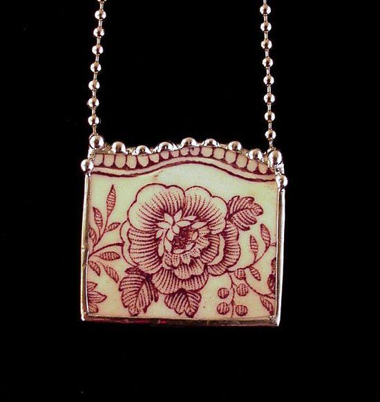 Antique English transferware purple rose  necklace