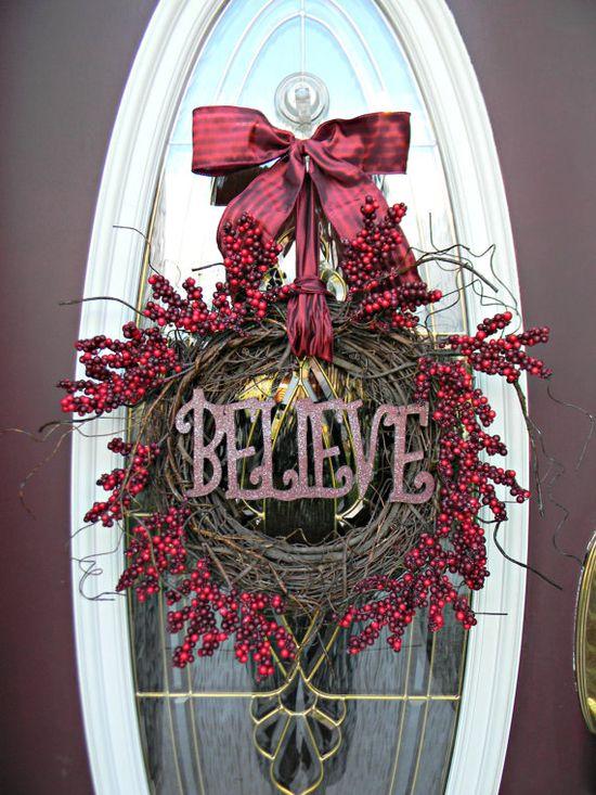 Christmas Wreath Holiday Door Wreath Decor.