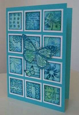 handmade card ... 3  X 4 inchies  ... monochromatic ... butterfluy on top ... lovely!!!