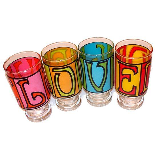 Vintage LOVE Drinking Glasses Set via KnellyBean $60   I remember these!