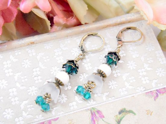 Nothing says love like a hand made gift! Vintage Inspired teal blue and white lucite flower dangle earrings on antiqued brass lever back Gift box included FREE SHIPPING in USA by GrammysBeadsNBaubles on etsy $5.99