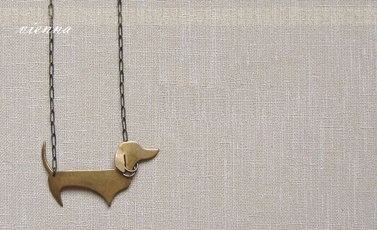"Vienna - Dejarnette: Friendly dachsund 2"" long on a 16"" necklace."