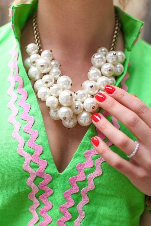 pearls, pink, green