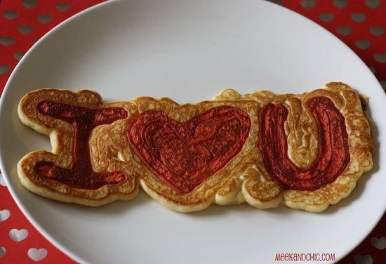 I ? U Pancakes. This is super cute!