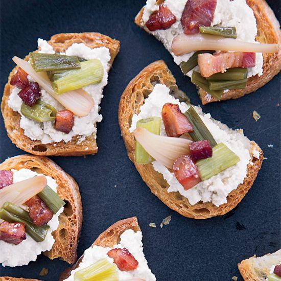 Ricotta Crostini with Pickled Ramps and Crisp Pancetta // More Bruschetta & Crostini Ideas: www.foodandwine.c... #foodandwine