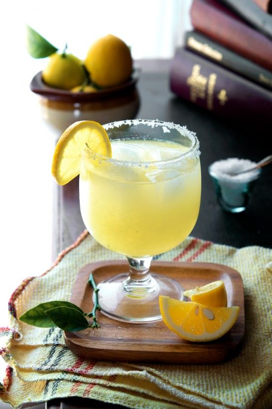"Meyer Lemon Margarita ~ 1 1/2 oz. Fresh Meyer Lemon Juice, 1 1/2 oz. Tequila, 1 oz. Triple Sec (or Cointreau if you want to go ""top-shelf""), Sea Salt for Rimming Glass"