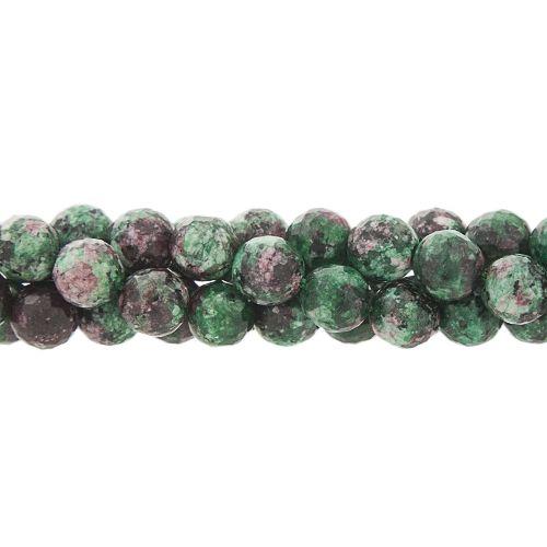 8mm Faceted Agate Gemstone Bead Strand, Green/Fuchsia