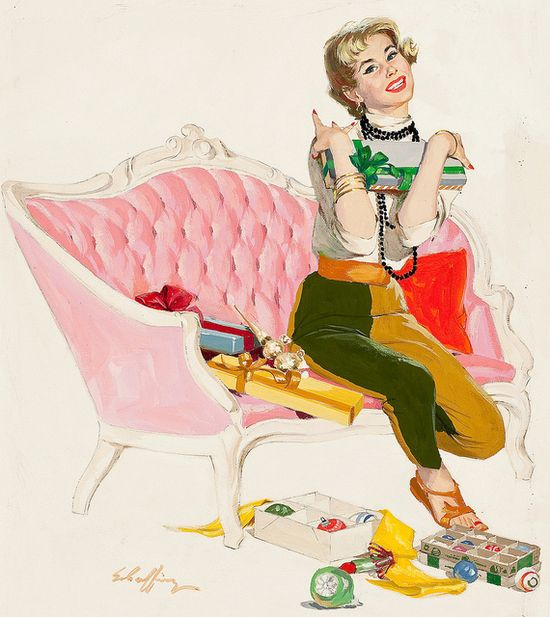 Love the elegant, girly pink sofa and her two-coloured pants! #Christmas #vintage #1950s #ornaments