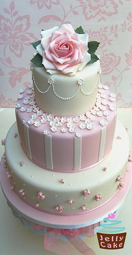 Pink Roses and Blossoms Wedding Cake