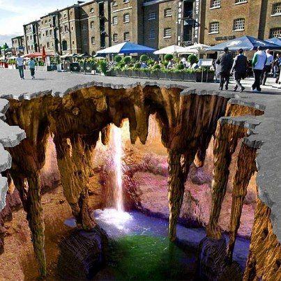 3D Chalk Art at West Dock, England. via  imgur.com