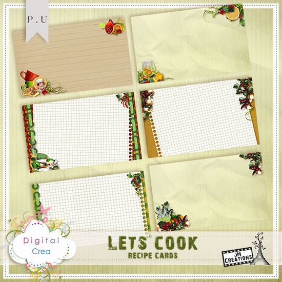 Lets Cook Recipe Cards by JM Creations