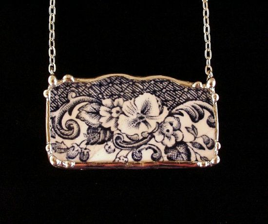Blue floral toile English transferware broken china jewelry necklace eco friendly jewelry