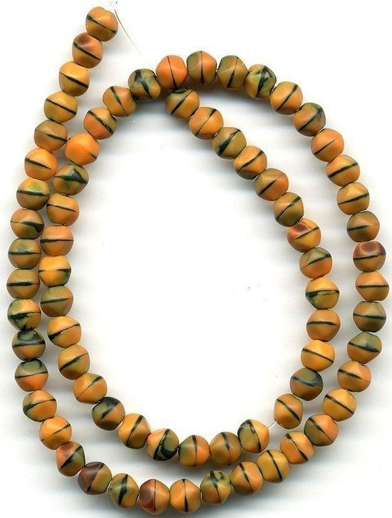 Vintage Matte Beads Orange & Black Glass in Sunset by beadbrats, $5.75