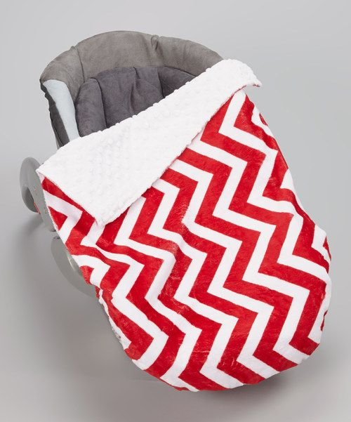Take a look at this Lolly Gags Red & White Zigzag Minky Car Seat Blanket on zulily today!