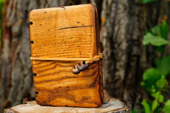 Unique Handmade  journal with distressed ash wood cover / natural finish  / ready to ship