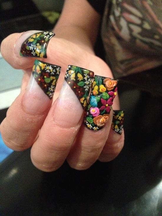 """Nails art, acrylic nails """"tehuanas"""""""