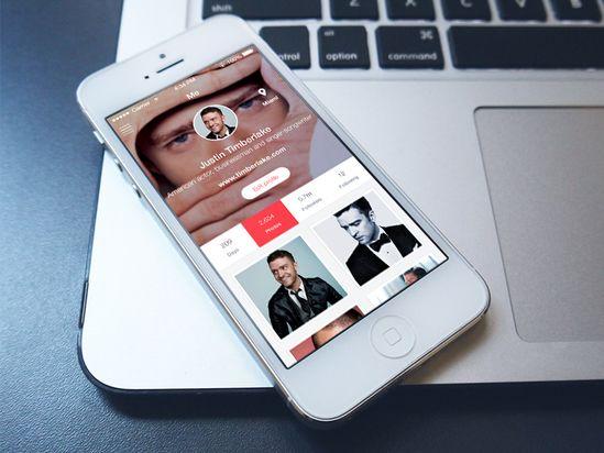 Photo sharing user profile screen