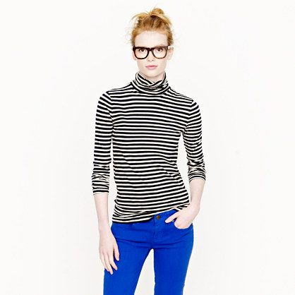 J.Crew (Tissue turtleneck tee in stripe) - this outfit is adorable. Stripes with coloured skinnies - perfect.