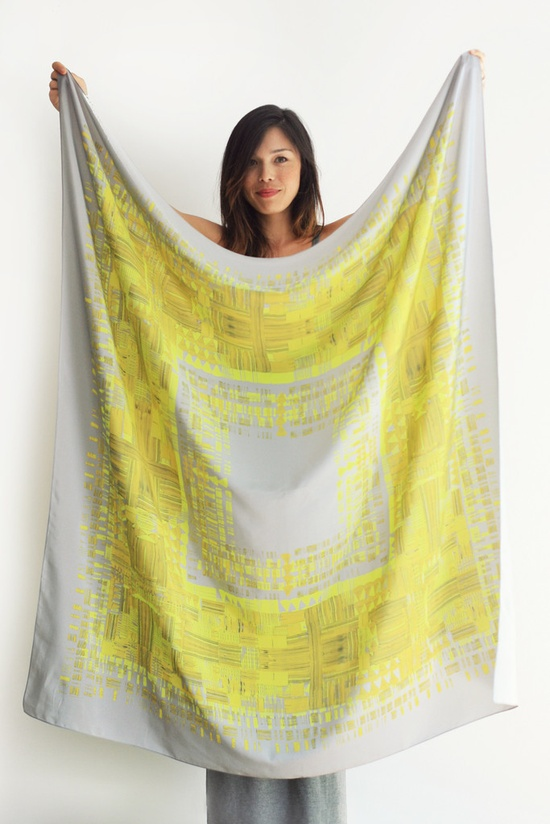 Helen Dealtry for Woking Girl Designs - 50 x 50 Jenny scarf in Chartreuse