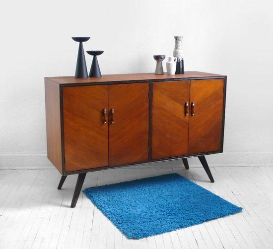 Vintage Wood Credenza  Mid Century Dresser Cabinet by Hindsvik