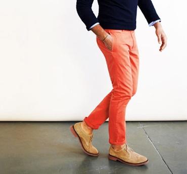 salmon-color pants