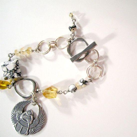 Silver Bracelet Egyptian Jewelry Scarab Charm Mosaic by cdjali, $19.00