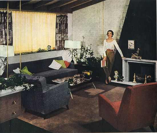 I really like the darker palette in this mid-century living room from 1952. #vintage #1950s #home #decor