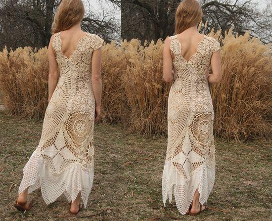 crochet pieced doily dress