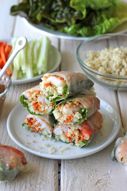 Roasted Shrimp Quinoa Spring Rolls with Spicy Asian Dipping Sauce by damndelicious: Yum! #Spring_Rolls #Shrimp #Quinoa
